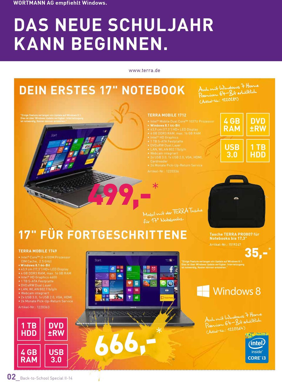 """ TERRA MOBILE 1712 Intel Mobile Dual Core 1037U Prozessor 43,9 cm (17,3"") HD+ LED Display DDR3, max. 16 GB Intel HD Graphics 1 TB S-ATA Festplatte DVD±RW Dual Layer LAN, WLAN 802."