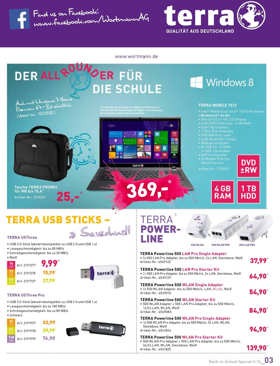 """ 369,- * TERRA MOBILE 1512 Intel Mobile Dual Core 1037U Prozessor 39,6 cm (15,6"") HD LED Display DDR3, max. 16 GB Intel HD Graphics 1 TB S-ATA Festplatte DVD±RW Dual Layer LAN, WLAN 802."