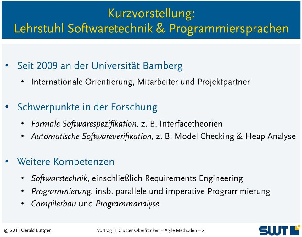 Interfacetheorien Automatische Softwareverifikation, z. B.