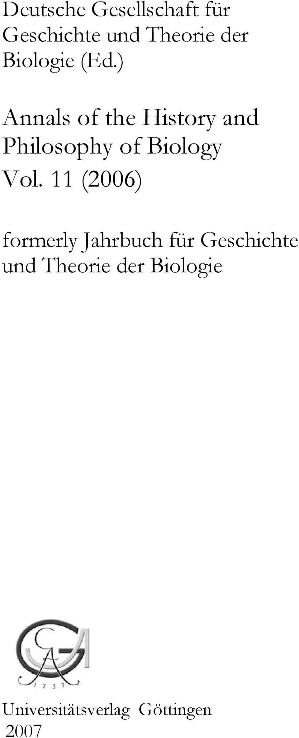 ) Annals of the History and Philosophy of Biology Vol.