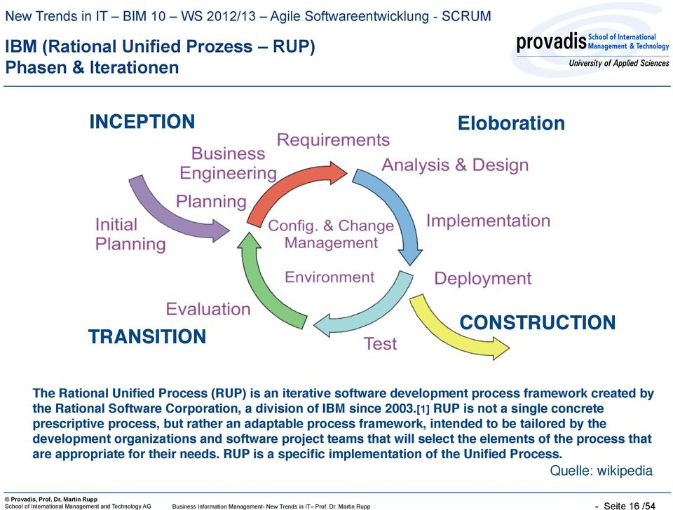 [1] RUP is not a single concrete prescriptive process, but rather an adaptable process framework, intended to be tailored by the development organizations and software project teams that
