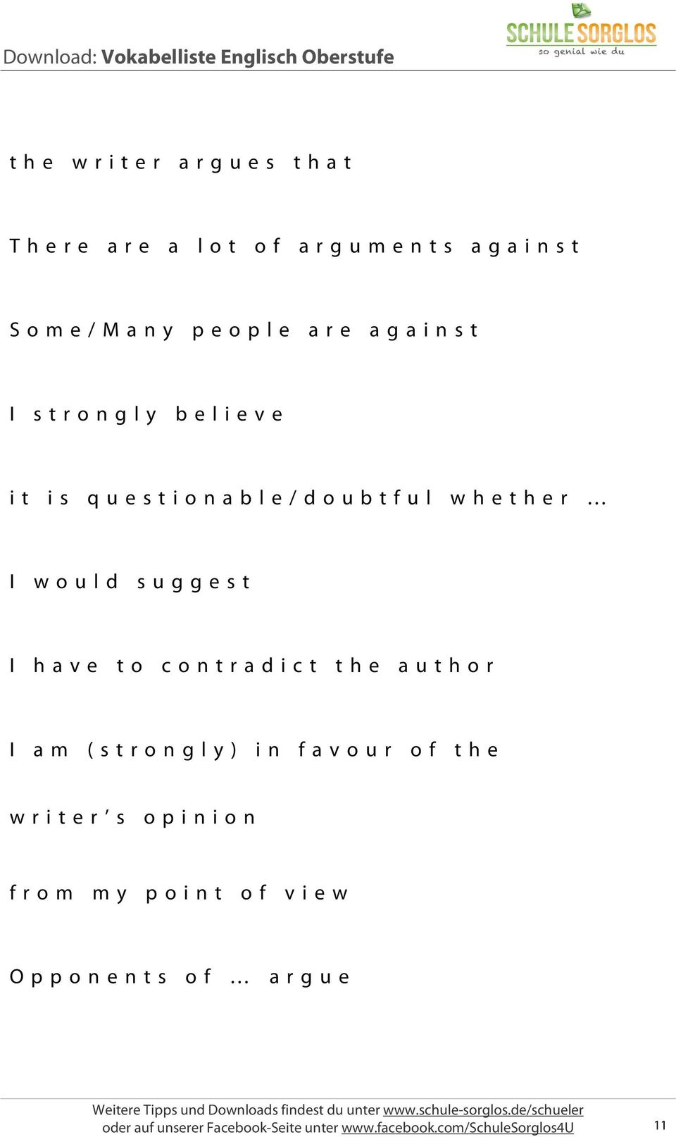 contradict the author I am (strongly) in favour of the writer s opinion from my point of