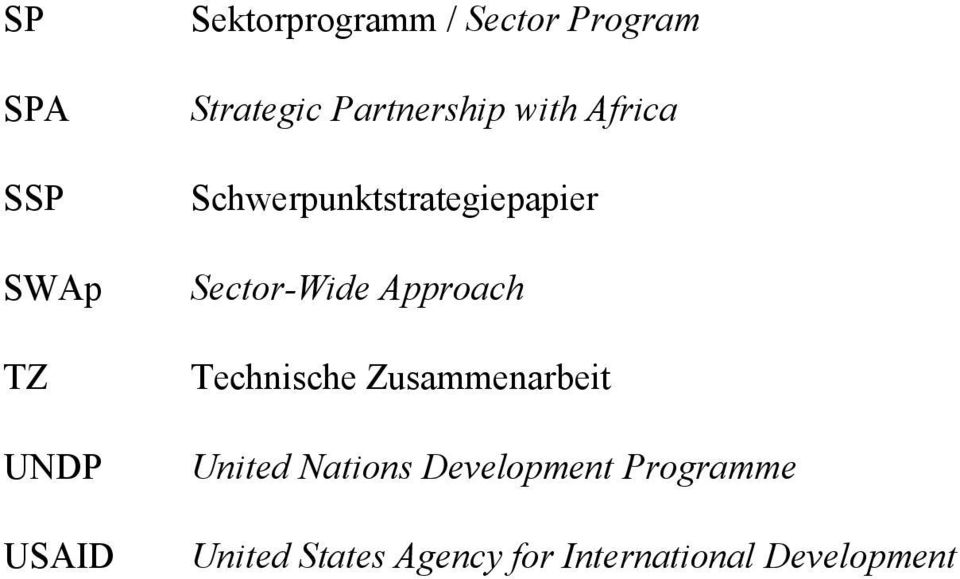 Sector-Wide Approach Technische Zusammenarbeit United Nations