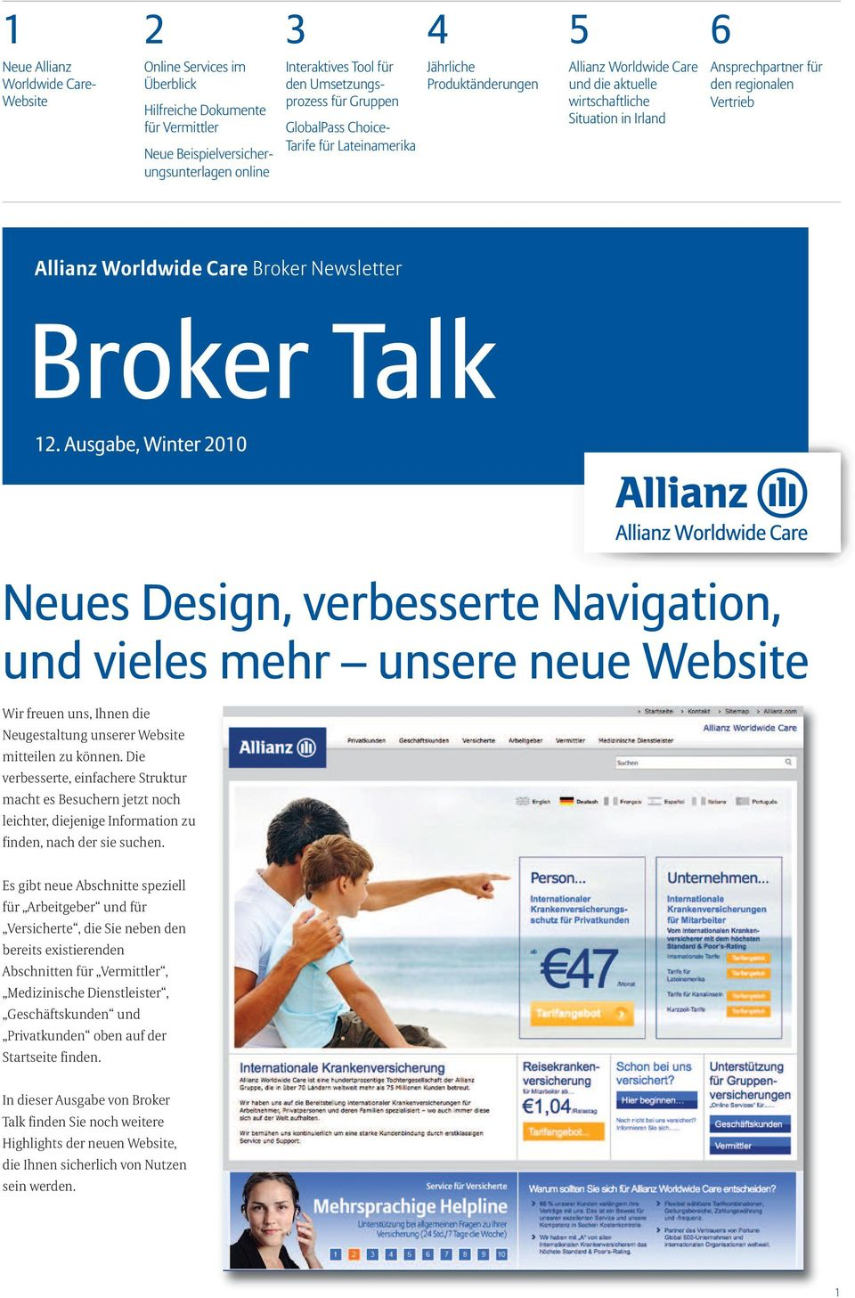 den regionalen Vertrieb Allianz Worldwide Care Broker Newsletter Broker Talk 12.