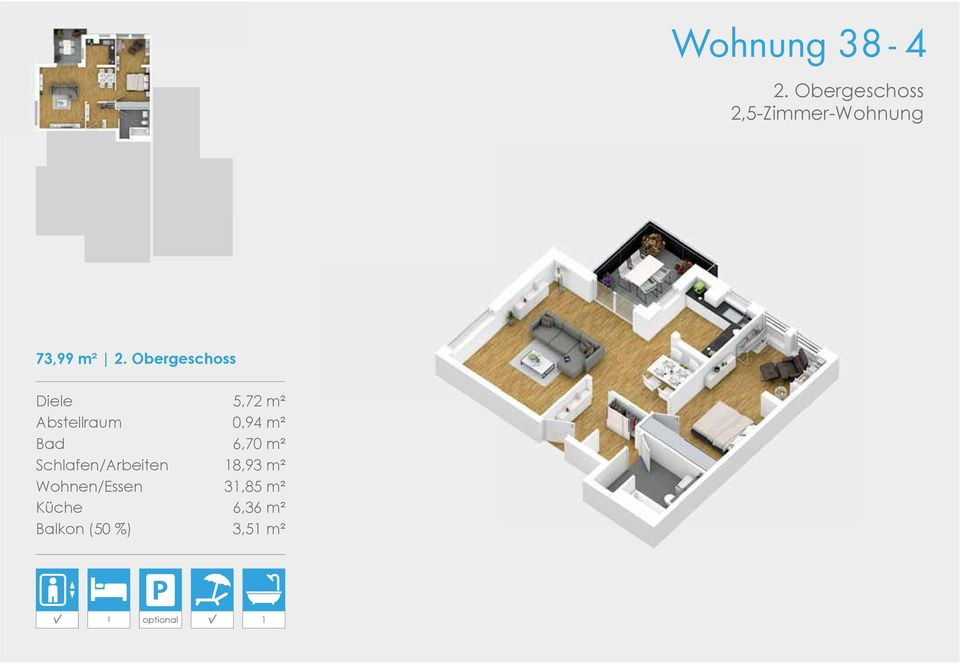 Obergeschoss Diele 5,72 m² Abstellraum 0,94 m² Bad
