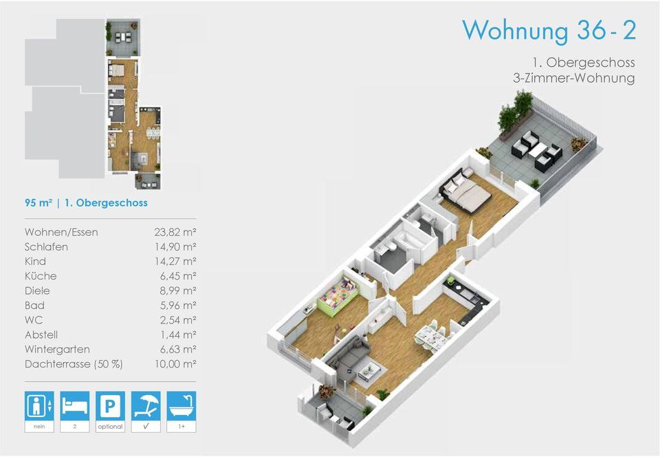 m² Küche 6,45 m² Diele 8,99 m² Bad 5,96 m² WC 2,54 m² Abstell