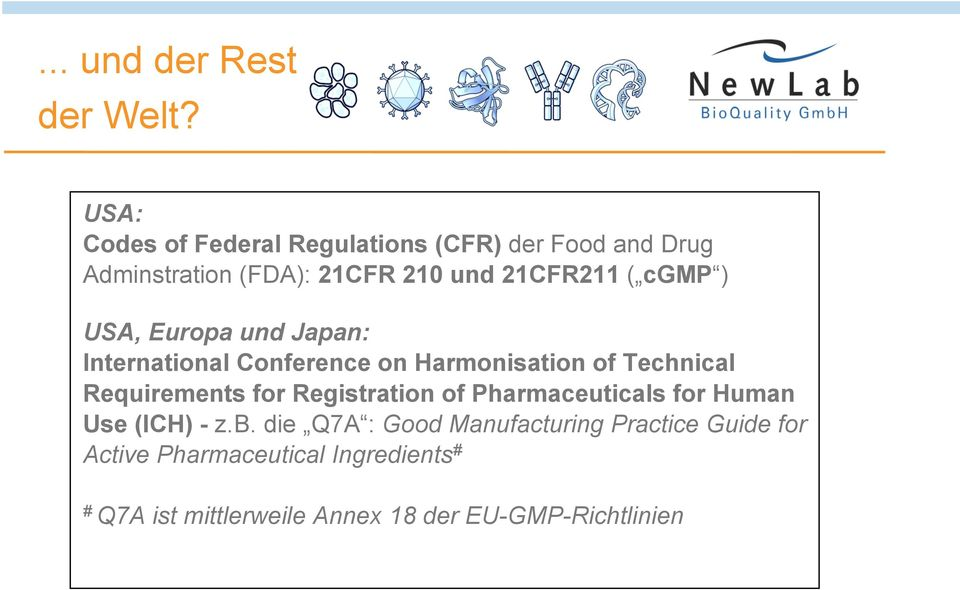 cgmp ) USA, Europa und Japan: International Conference on Harmonisation of Technical Requirements for