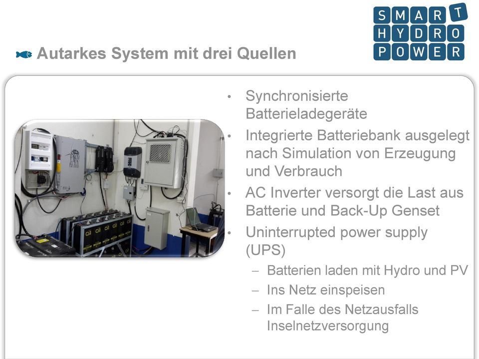 versorgt die Last aus Batterie und Back-Up Genset Uninterrupted power supply (UPS)
