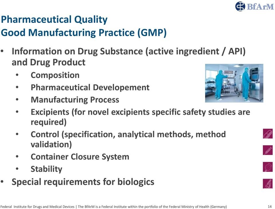 Excipients (for novel excipients specific safety studies are required) Control (specification,