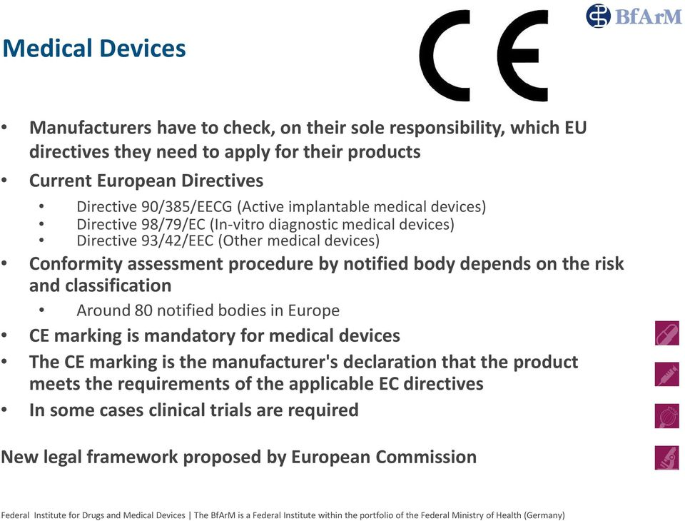 procedure by notified body depends on the risk and classification Around 80 notified bodies in Europe CE marking is mandatory for medical devices The CE marking is the
