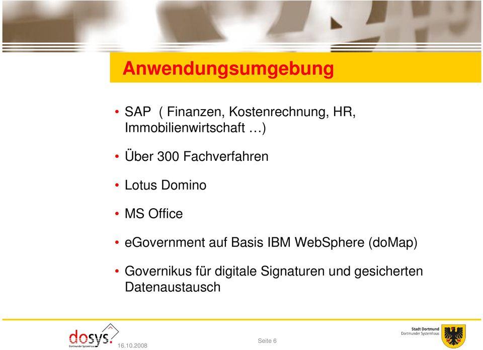Office egovernment auf Basis IBM WebSphere (domap) Governikus