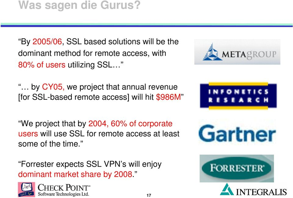 utilizing SSL by CY05, we project that annual revenue [for SSL-based remote access] will hit $986M
