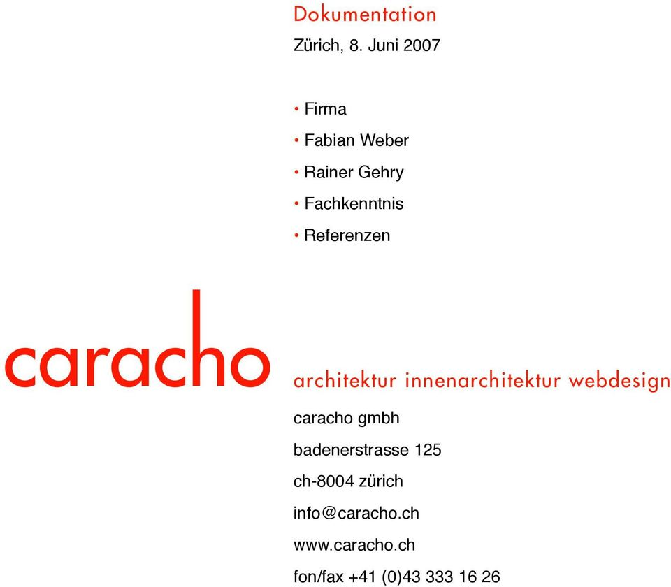 Referenzen architektur innenarchitektur webdesign caracho