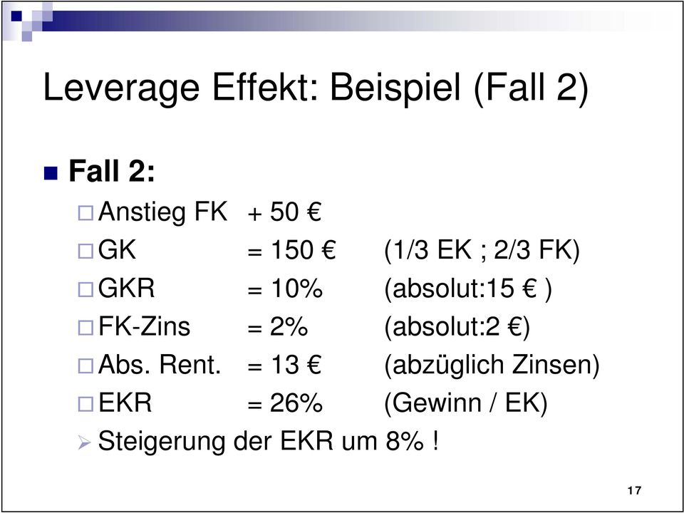 FK-Zins = 2% (absolut:2 ) Abs. Rent.
