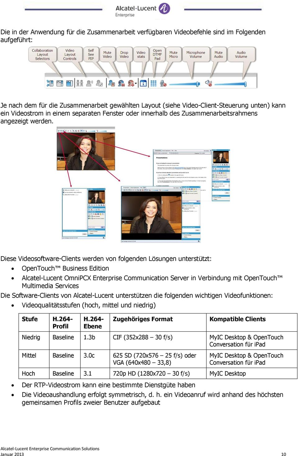 Diese Videosoftware-Clients werden von folgenden Lösungen unterstützt: OpenTouch Business Edition Alcatel-Lucent OmniPCX Enterprise Communication Server in Verbindung mit OpenTouch Multimedia