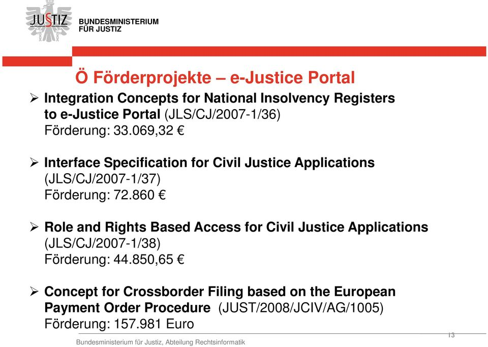 860 Role and Rights Based Access for Civil Justice Applications (JLS/CJ/2007-1/38) Förderung: 44.