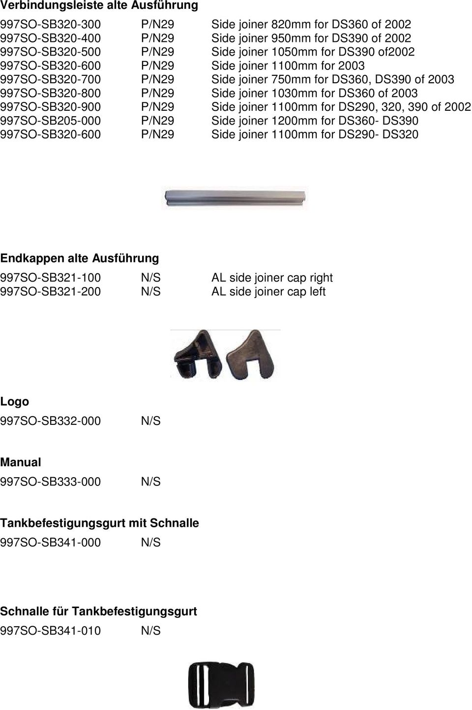 997SO-SB320-900 P/N29 Side joiner 1100mm for DS290, 320, 390 of 2002 997SO-SB205-000 P/N29 Side joiner 1200mm for DS360- DS390 997SO-SB320-600 P/N29 Side joiner 1100mm for DS290- DS320 Endkappen alte
