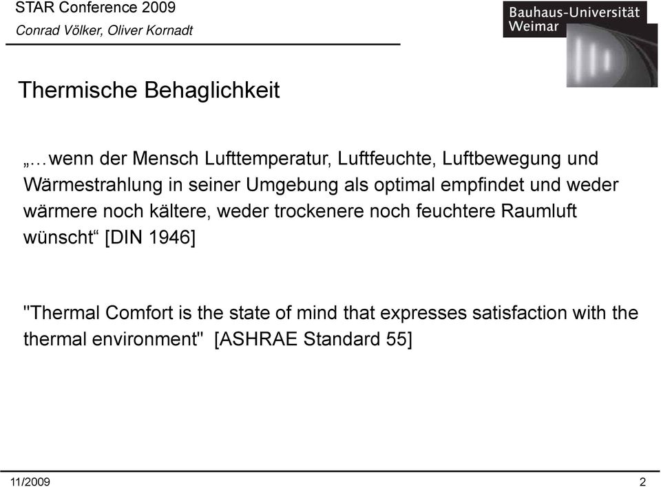 "trockenere noch feuchtere Raumluft wünscht [DIN 1946] ""Thermal Comfort is the state of mind that"