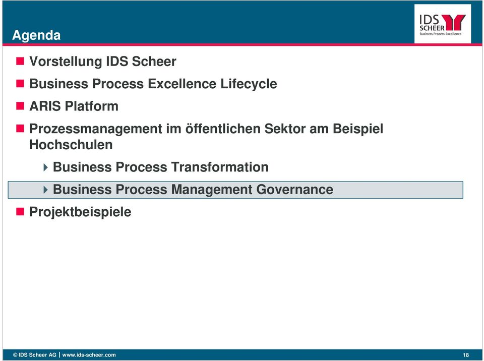 Hochschulen Business Process Transformation Business Process