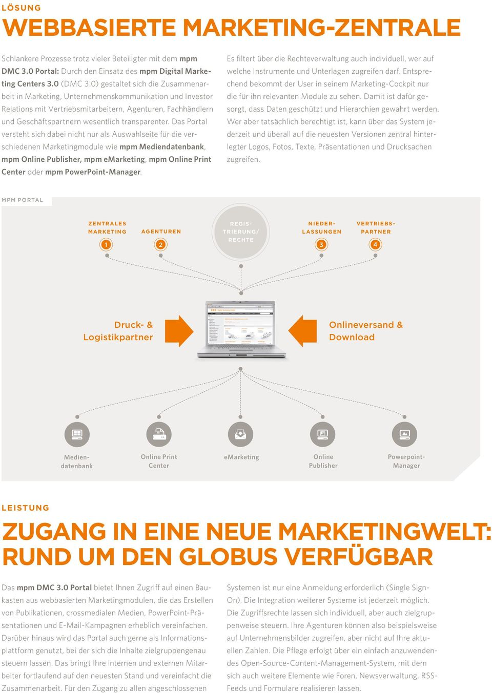 Das Portal versteht sich dabei nicht nur als Auswahlseite für die verschiedenen Marketingmodule wie mpm Mediendatenbank, mpm Online Publisher, mpm emarketing, mpm Online Print Center oder mpm