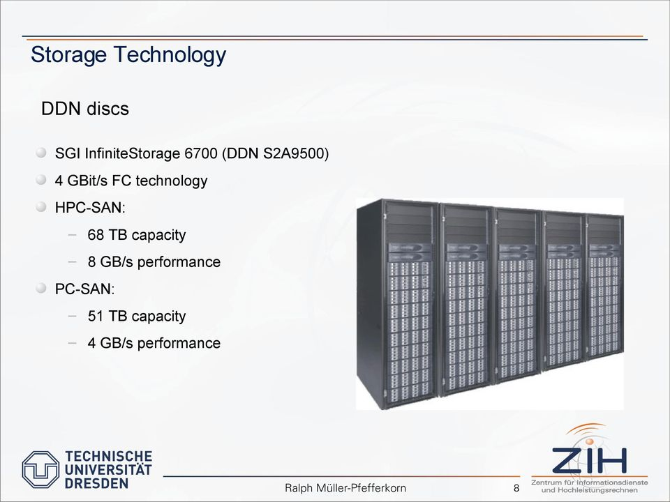 FC technology HPC-SAN: 68 TB capacity 8 GB/s