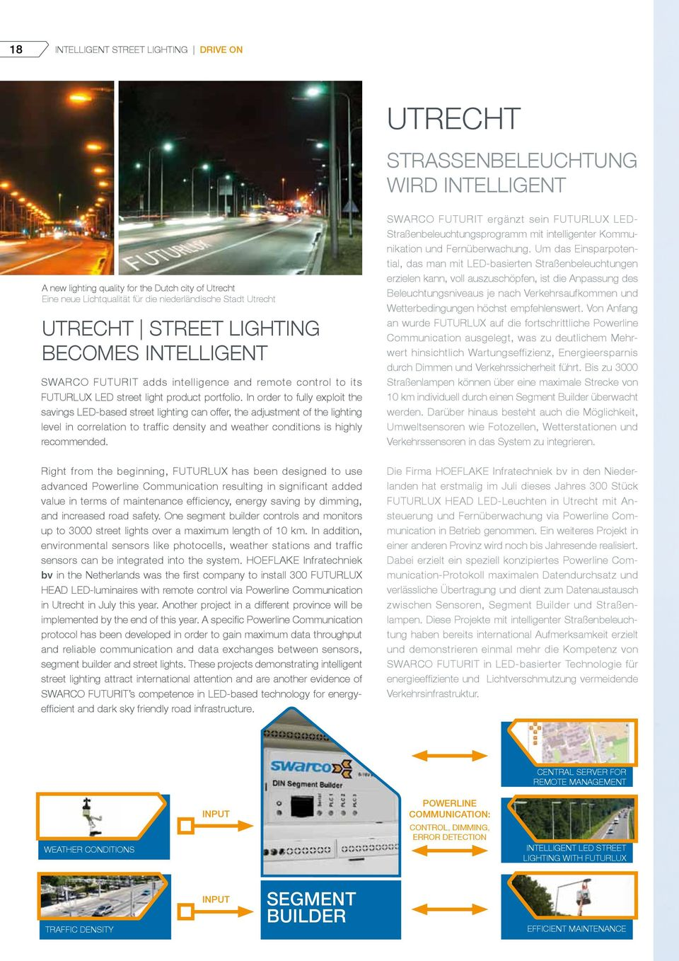 In order to fully exploit the savings LED-based street lighting can offer, the adjustment of the lighting level in correlation to traffic density and weather conditions is highly recommended.