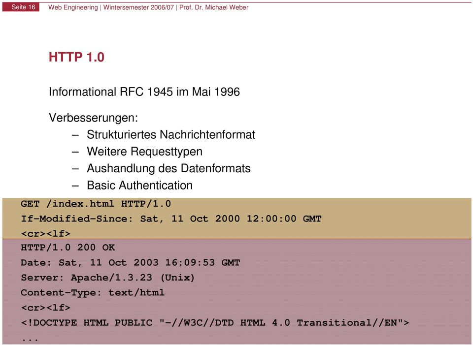 Aushandlung des Datenformats Basic Authentication GET /index.html HTTP/1.