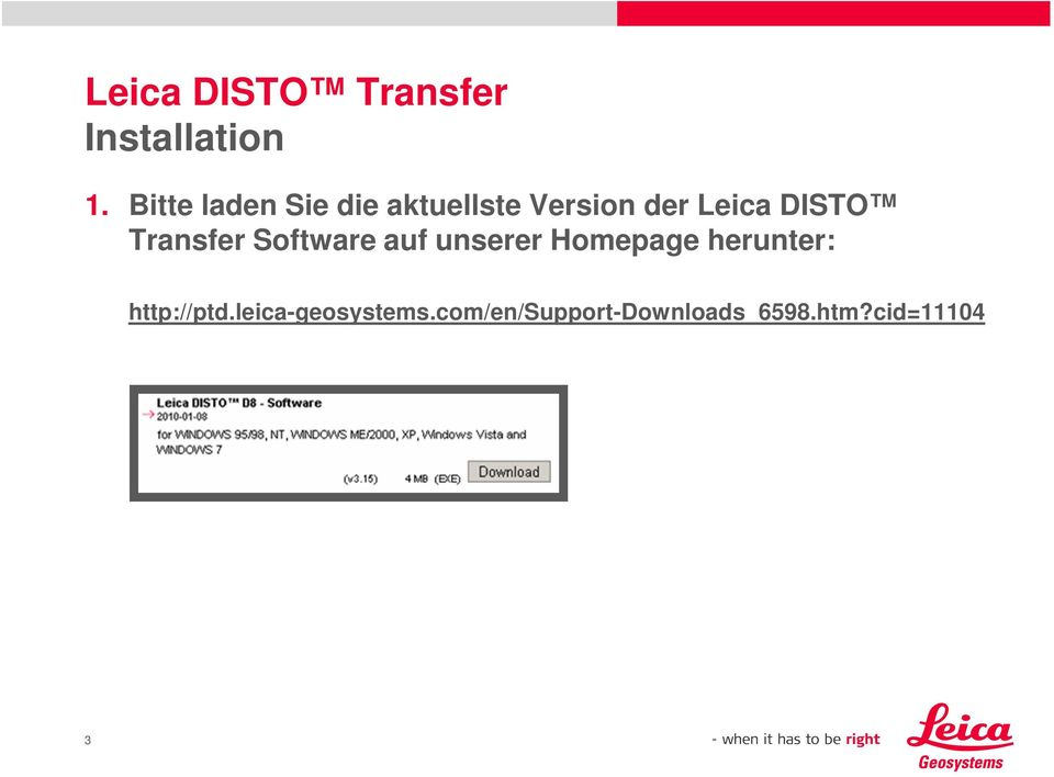DISTO Transfer Software auf unserer Homepage