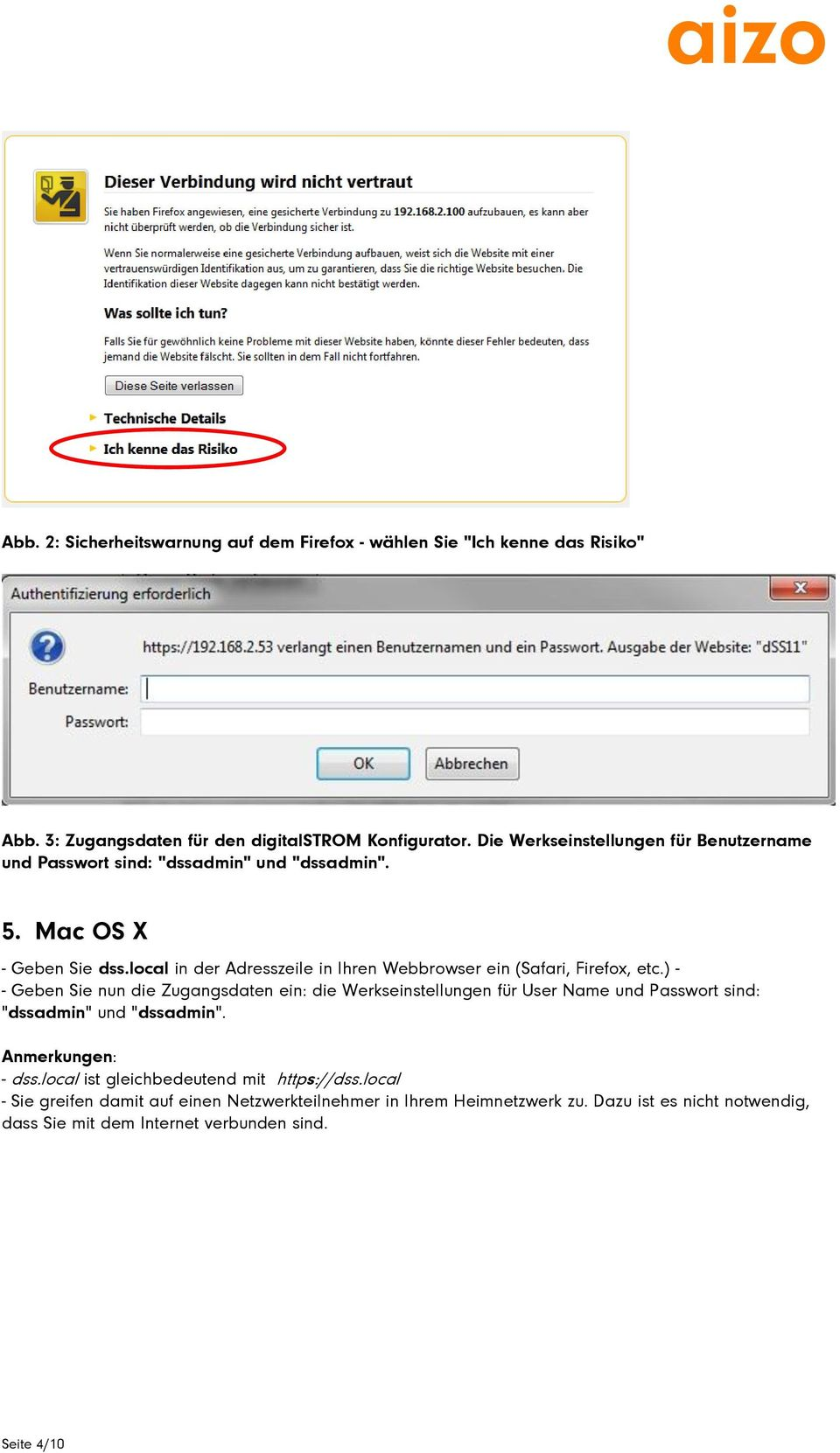 local in der Adresszeile in Ihren Webbrowser ein (Safari, Firefox, etc.