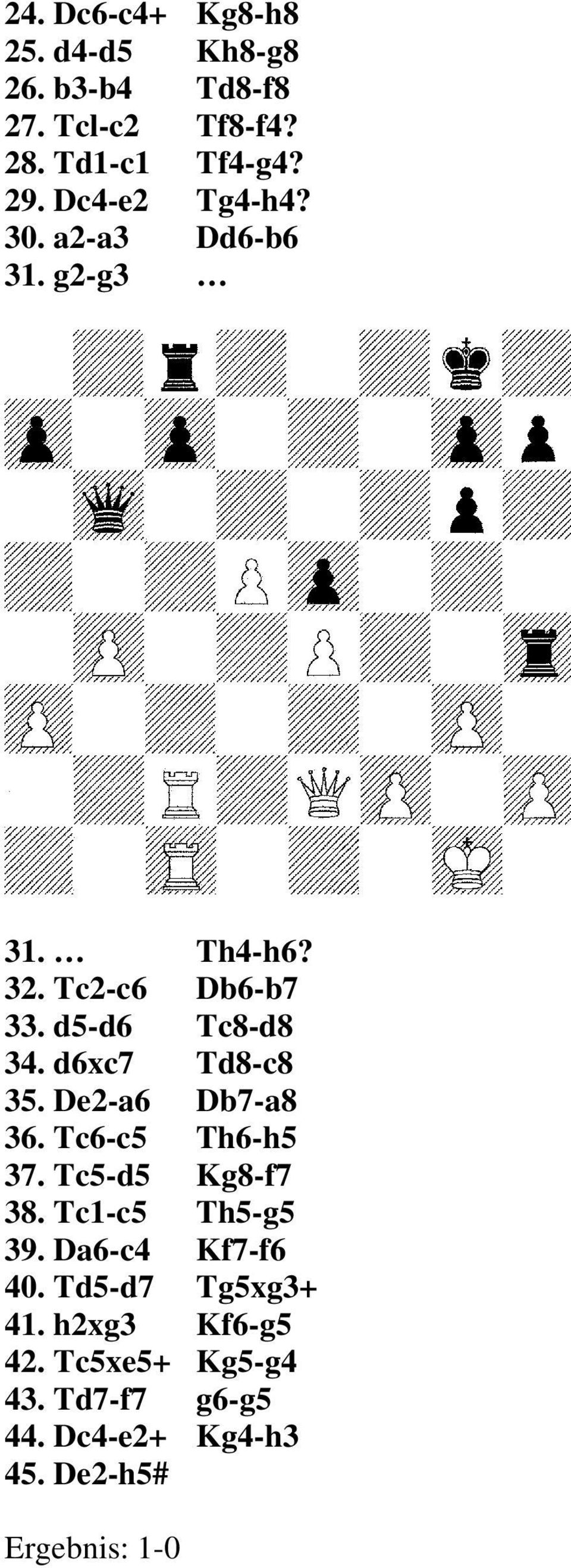 d6xc7 Td8-c8 35. De2-a6 Db7-a8 36. Tc6-c5 Th6-h5 37. Tc5-d5 Kg8-f7 38. Tc1-c5 Th5-g5 39.