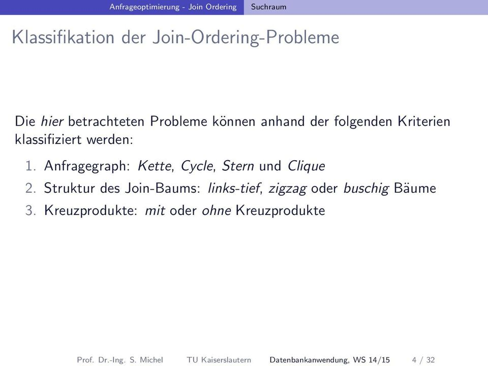 Anfragegraph: Kette, Cycle, Stern und Clique 2.