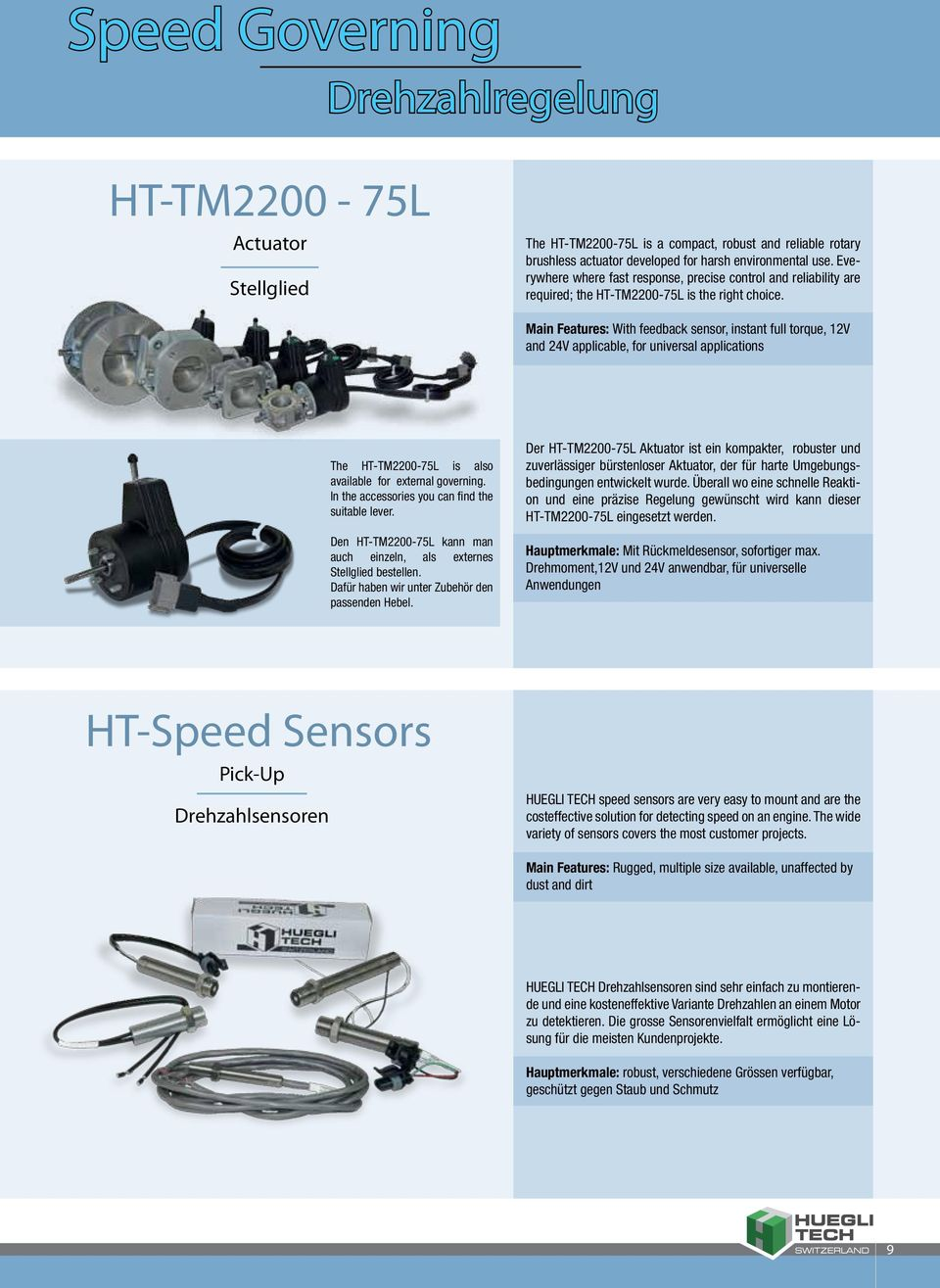 Main Features: With feedback sensor, instant full torque, 12V and 24V applicable, for universal applications The HT-TM2200-75L is also available for external governing.