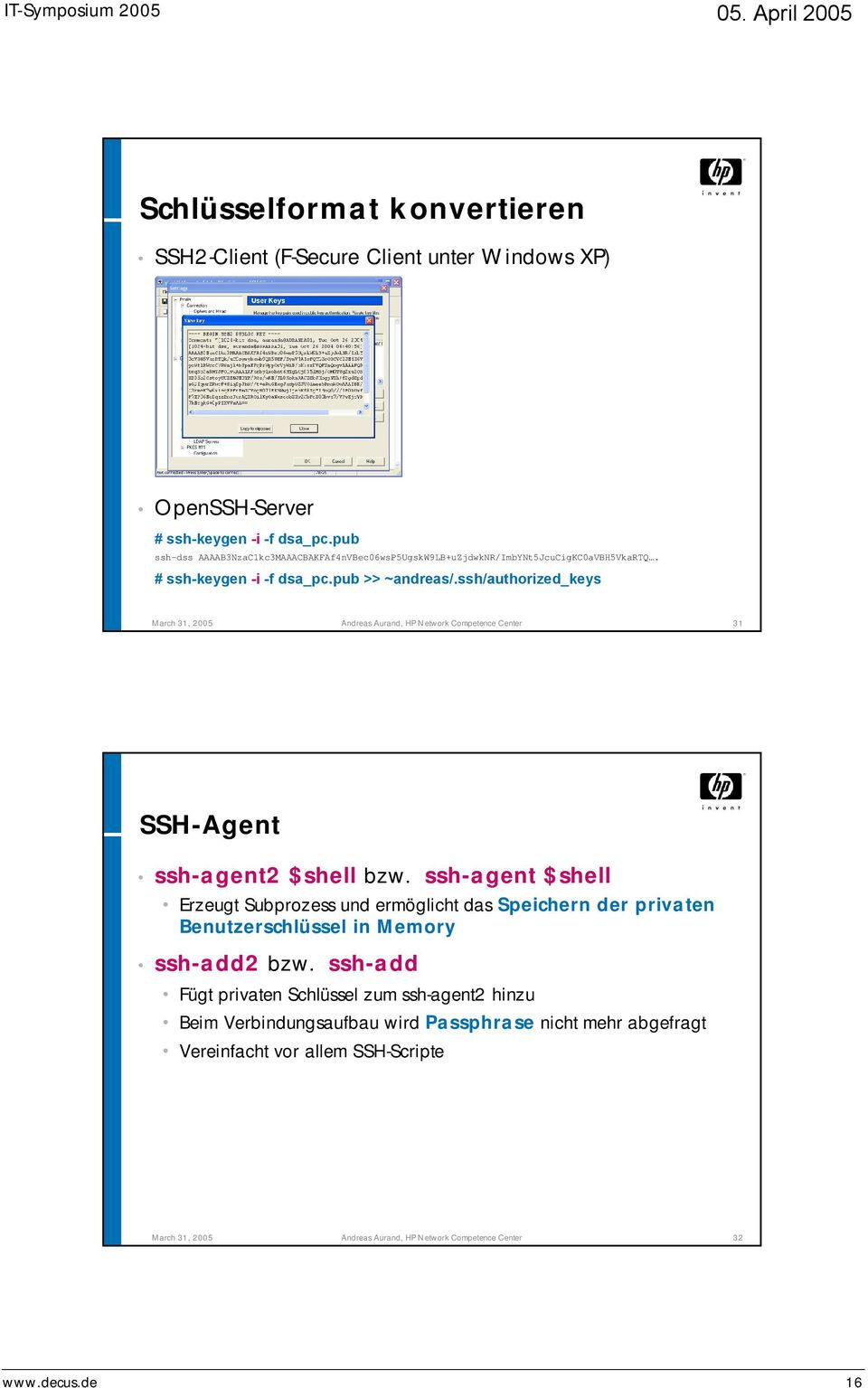 ssh/authorized_keys March 31, 2005 Andreas Aurand, HP Network Competence Center 31 SSH-Agent ssh-agent2 $shell bzw.