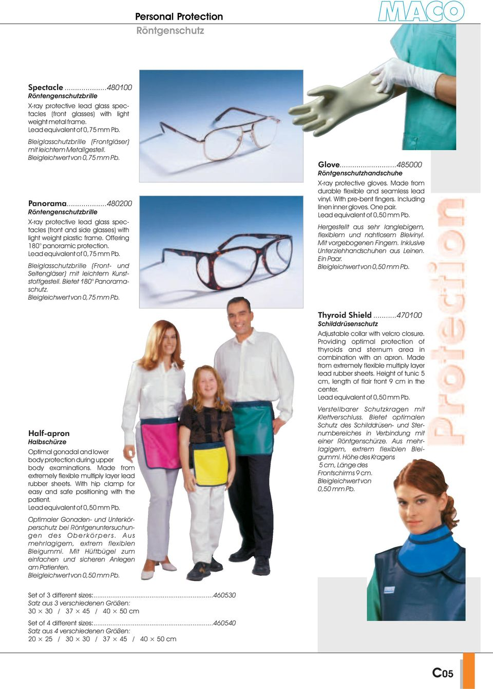 ..480200 Röntengenschutzbrille X-ray protective lead glass spectacles (front and side glasses) with light weight plastic frame. Offering 180 panoramic protection. Lead equivalent of 0,75 mm Pb.