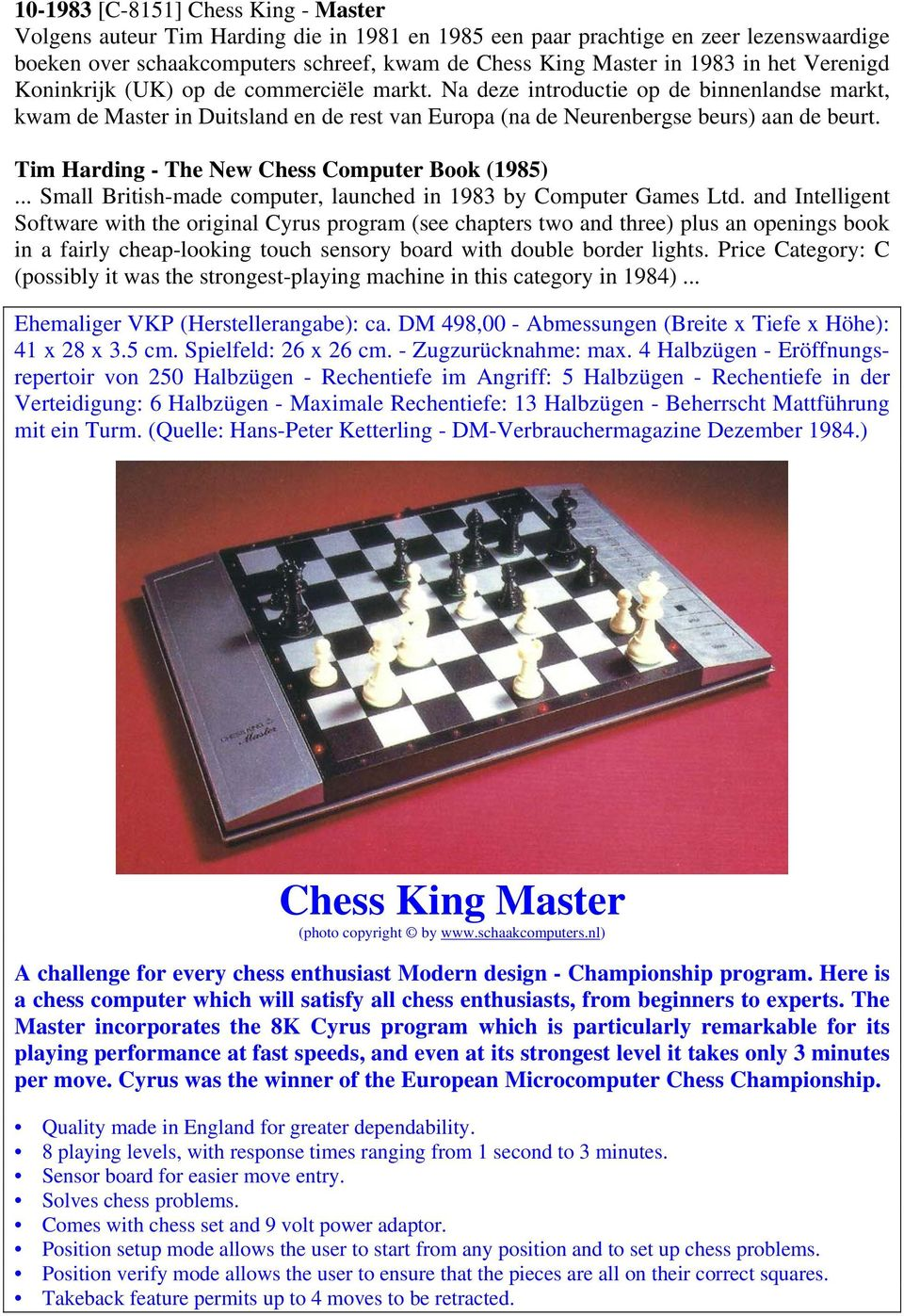 Tim Harding - The New Chess Computer Book (1985)... Small British-made computer, launched in 1983 by Computer Games Ltd.