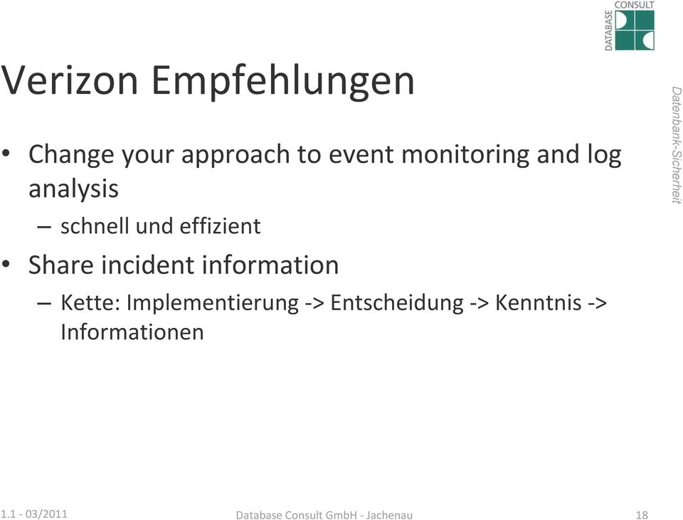 incident information Kette: Implementierung >
