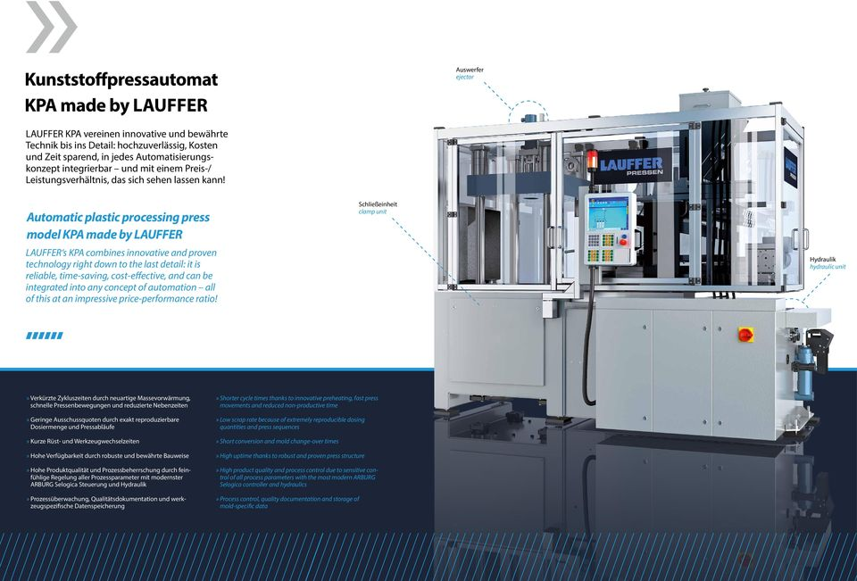 Automatic plastic processing press model KPA made by LAUFFER LAUFFER s KPA combines innovative and proven technology right down to the last detail: it is reliable, time-saving, cost-effective, and