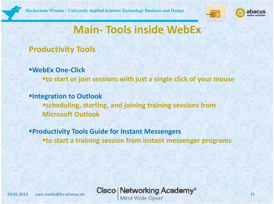 training sessions from Microsoft Outlook Productivity Tools Guide for Instant Messengers to