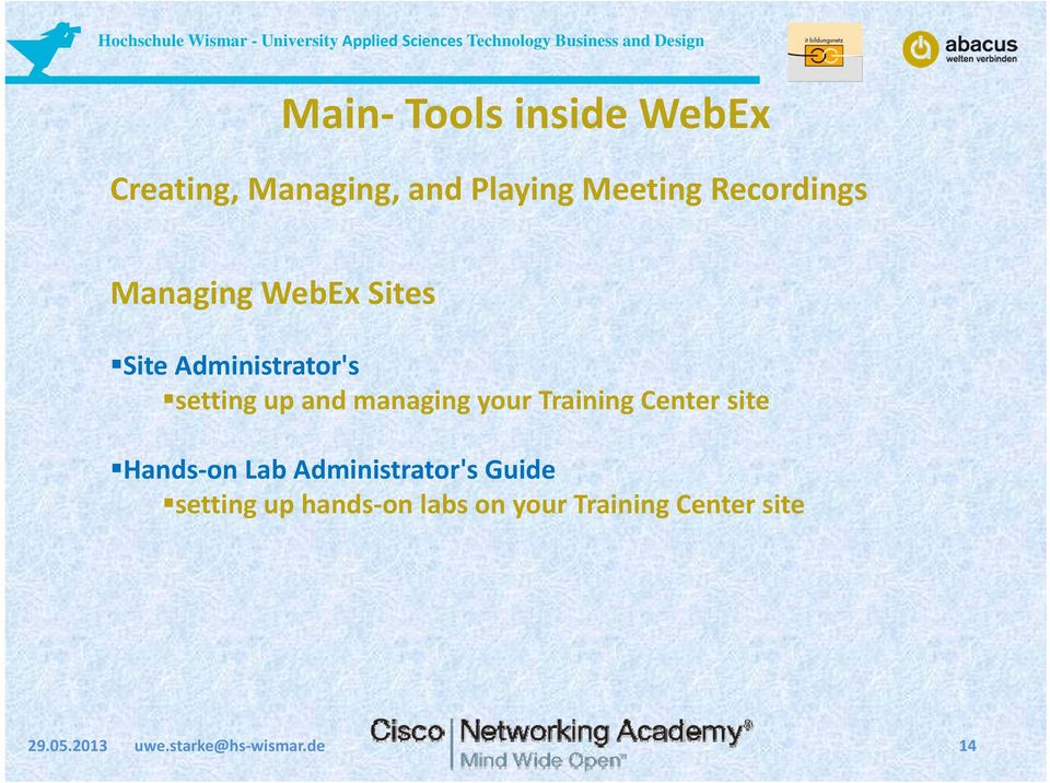managing your Training Center site Hands on Lab Administrator's Guide