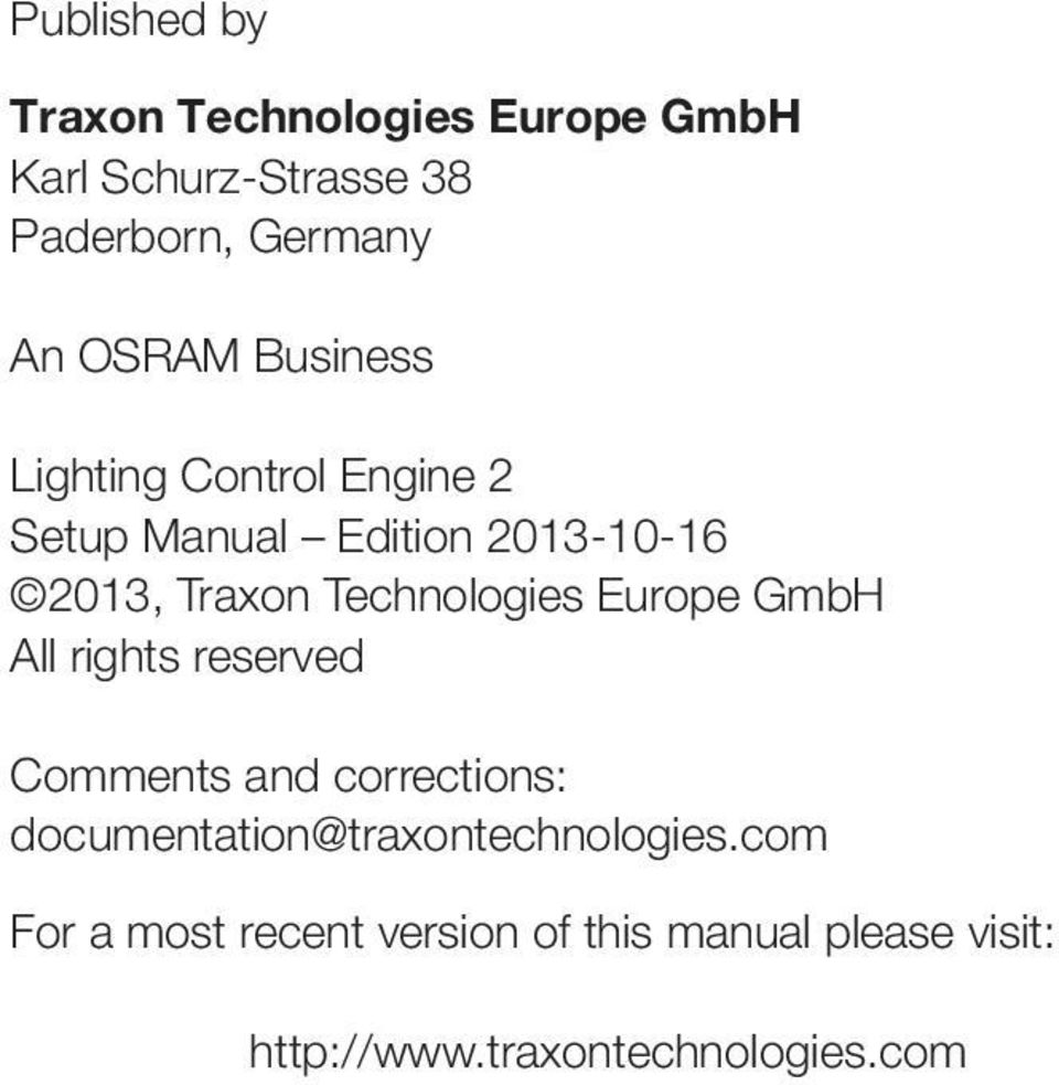 Technologies Europe GmbH All rights reserved Comments and corrections: