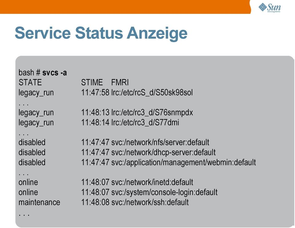 lrc:/etc/rc3_d/s77dmi 11:47:47 svc:/network/nfs/server:default 11:47:47 svc:/network/dhcp-server:default 11:47:47