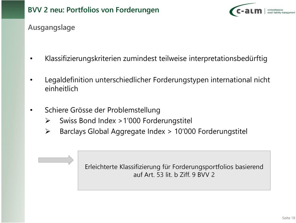 Schiere Grösse der Problemstellung Swiss Bond Index >1 000 Forderungstitel Barclays Global Aggregate Index >
