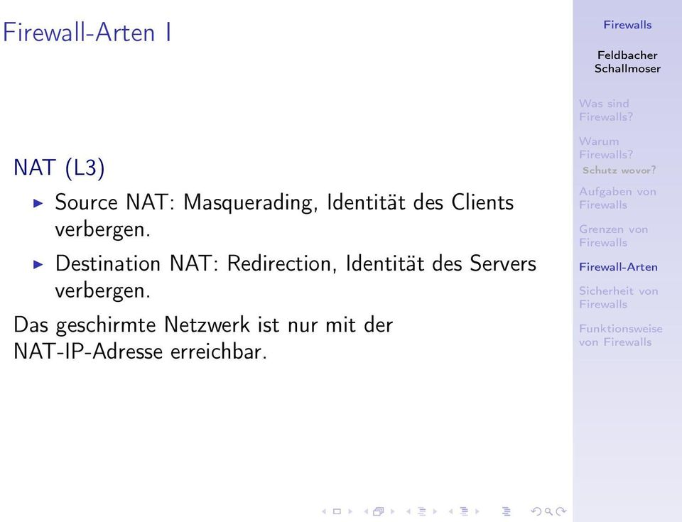 Destination NAT: Redirection, Identität des Servers