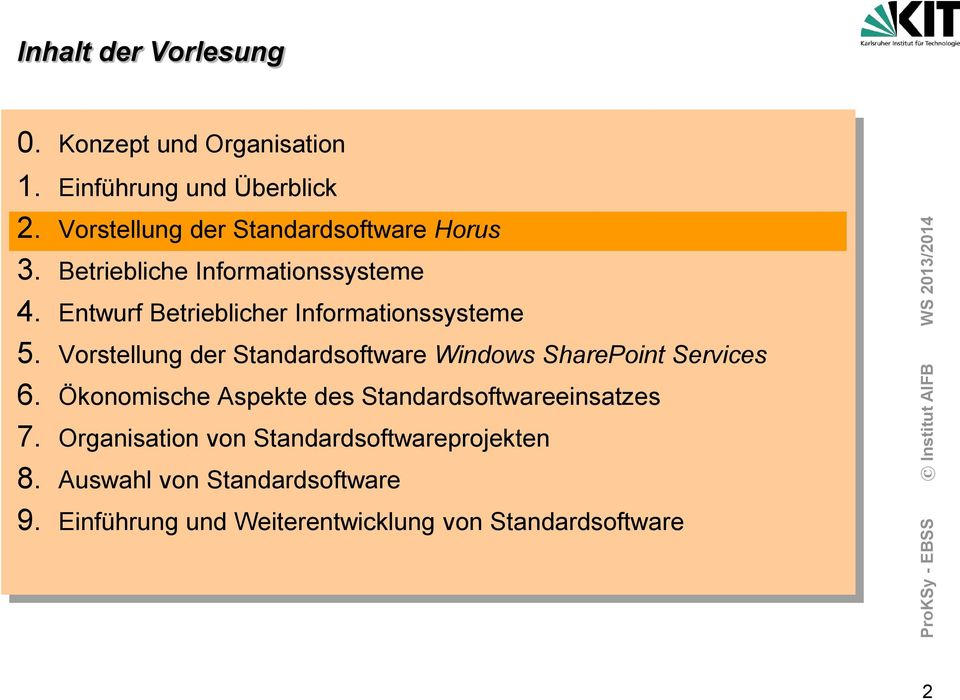Entwurf Betrieblicher Informationssysteme 5. Vorstellung der Standardsoftware Windows SharePoint Services 6.