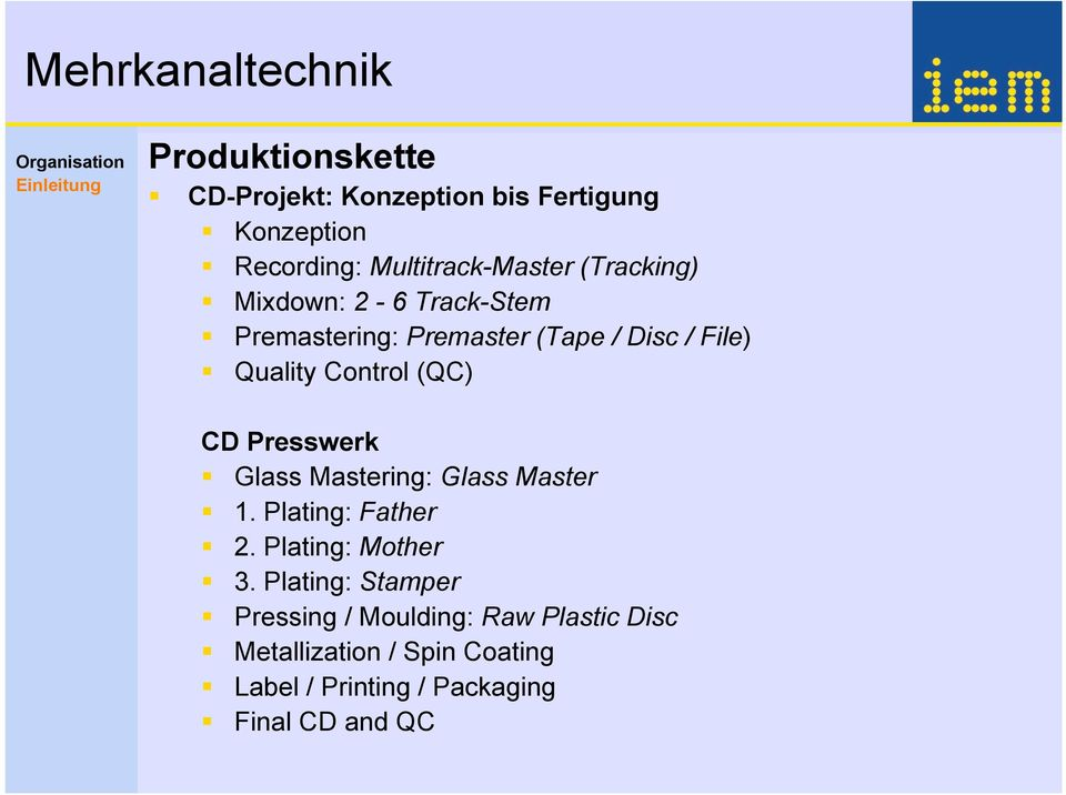 CD Presswerk Glass Mastering: Glass Master 1. Plating: Father 2. Plating: Mother 3.