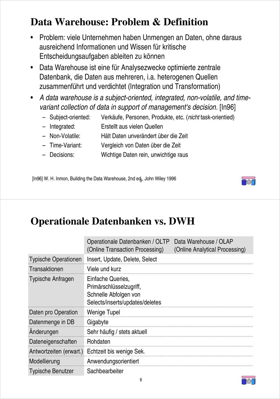 a subject-oriented, integrated, non-volatile, and timevariant collection of data in support of management s decision. [In96] Subject-oriented: Verkäufe, Personen, Produkte, etc.