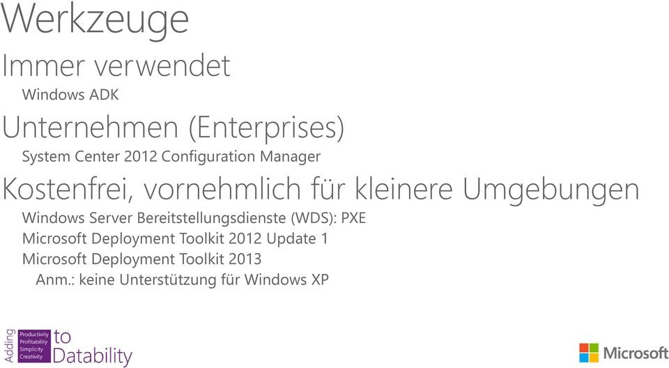Windows Server Bereitstellungsdienste (WDS): PXE Microsoft Deployment Toolkit