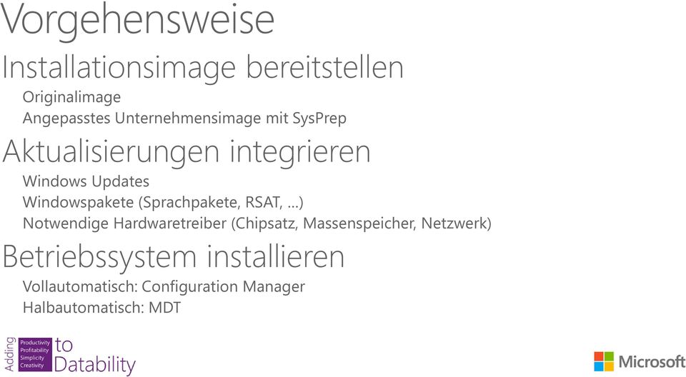Windowspakete (Sprachpakete, RSAT, ) Notwendige Hardwaretreiber (Chipsatz,