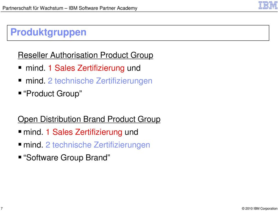2 technische Zertifizierungen Product Group Open Distribution