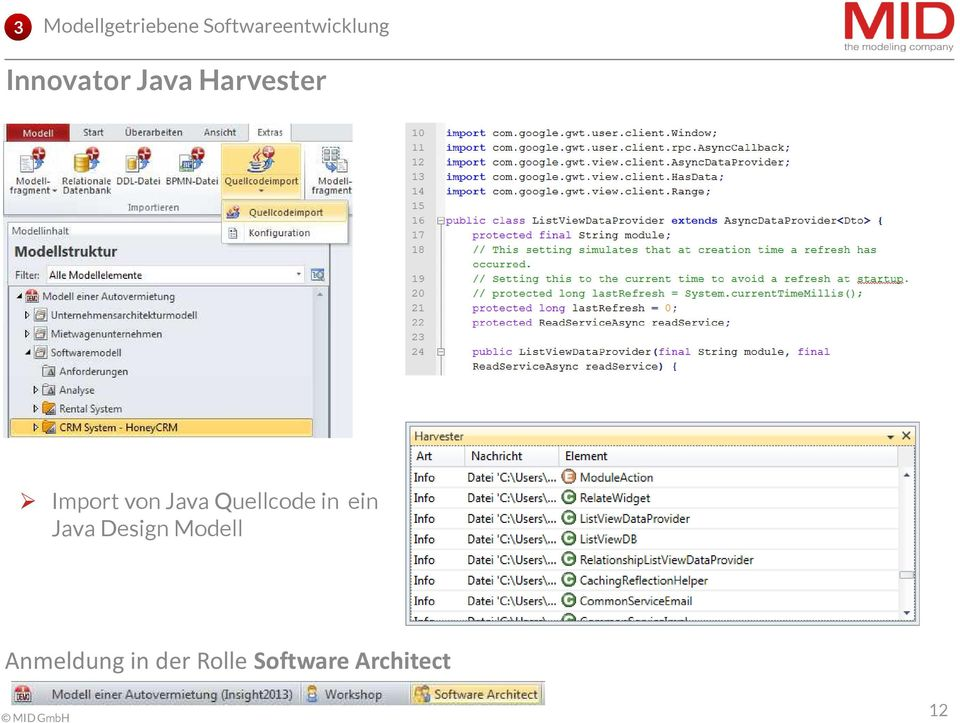 Java Quellcode in ein Java Design